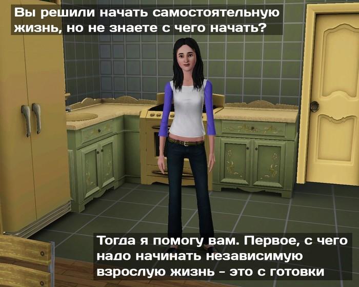 Самостоятельная жизнь Сингулярность, ВКонтакте, Самостоятельная жизнь, Готовка, Длиннопост, Картина с историей, The sims