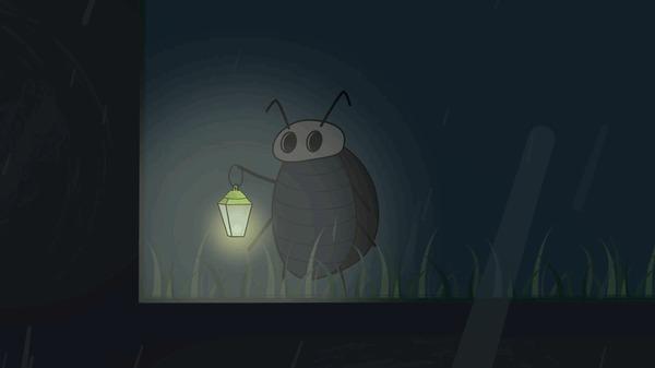 Просто жук с фонарем под дождем
