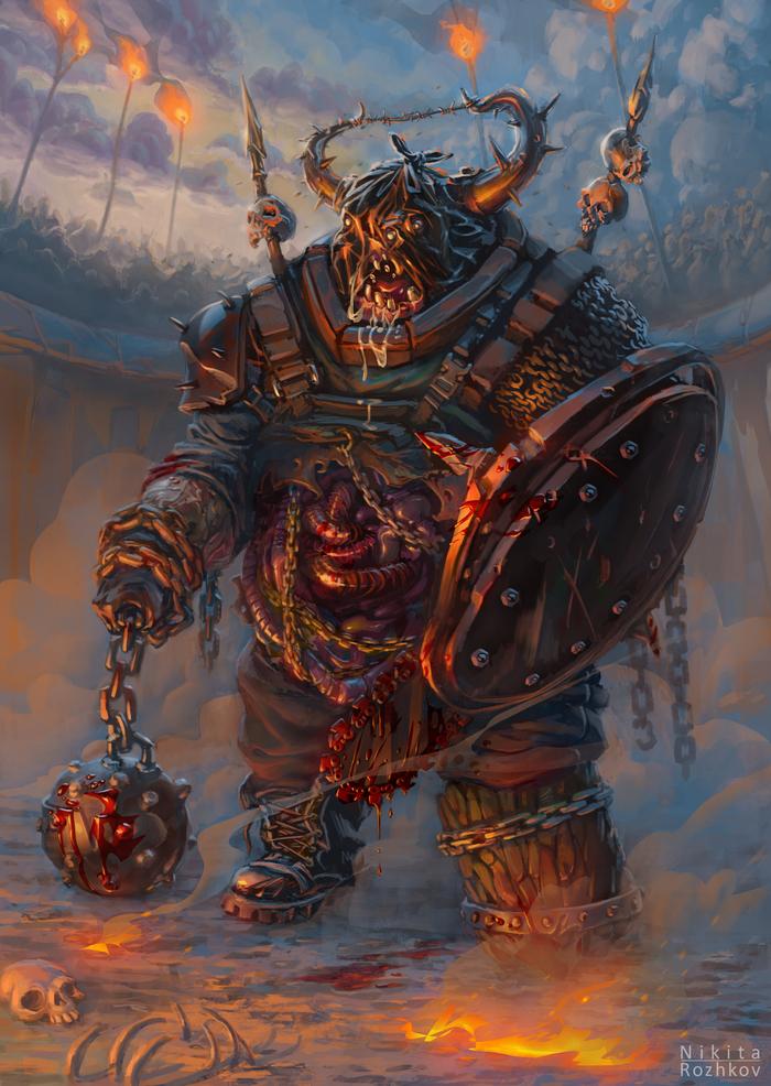 Зомби-гладиатор Зомби, Гладиатор, Воин, Монстр, Рисунок, Цифровой рисунок
