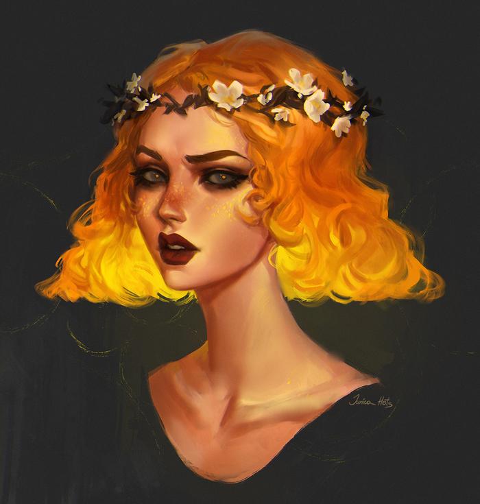 Желтый портрет Портрет, Цифровой рисунок, Девушки, Веснушки, Мистер Риу, Венок, Рисунок