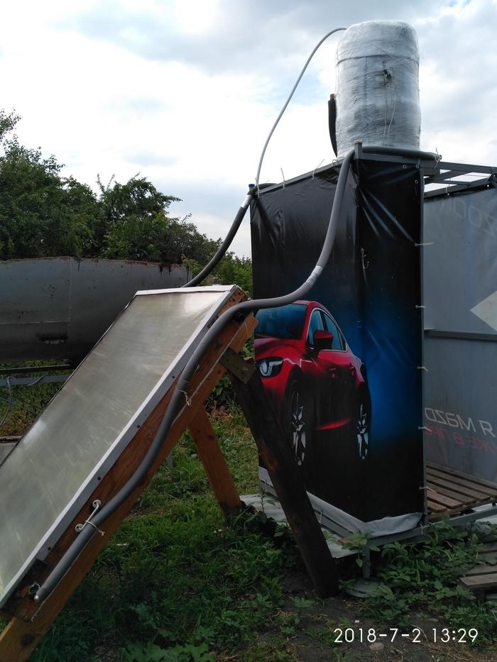 Солнечный коллектор для летнего душа. Солнечная энергия, Горячая вода, Душ, Mazda 6, Лето, Длиннопост