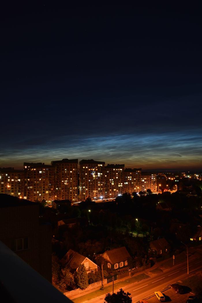 Серебристые облака над Минском Фотография, Серебристые облака, Небо, Ночь, Минск, Длиннопост