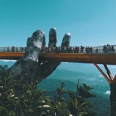 Золотой мост Вьетнам, Путешествия, Архитектура, Мост, Золотой мост, Гифка