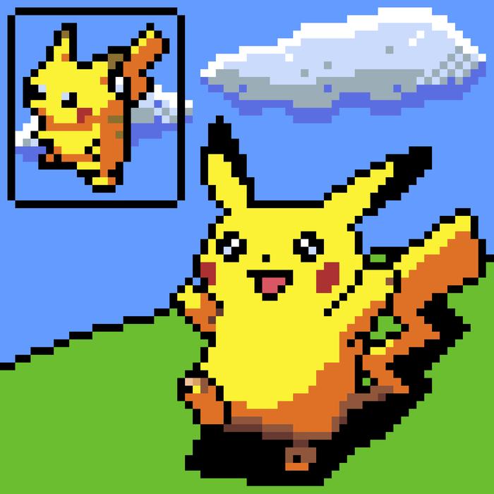 Пиксельный Пикачу Пикачу, Покемоны, Pixel art