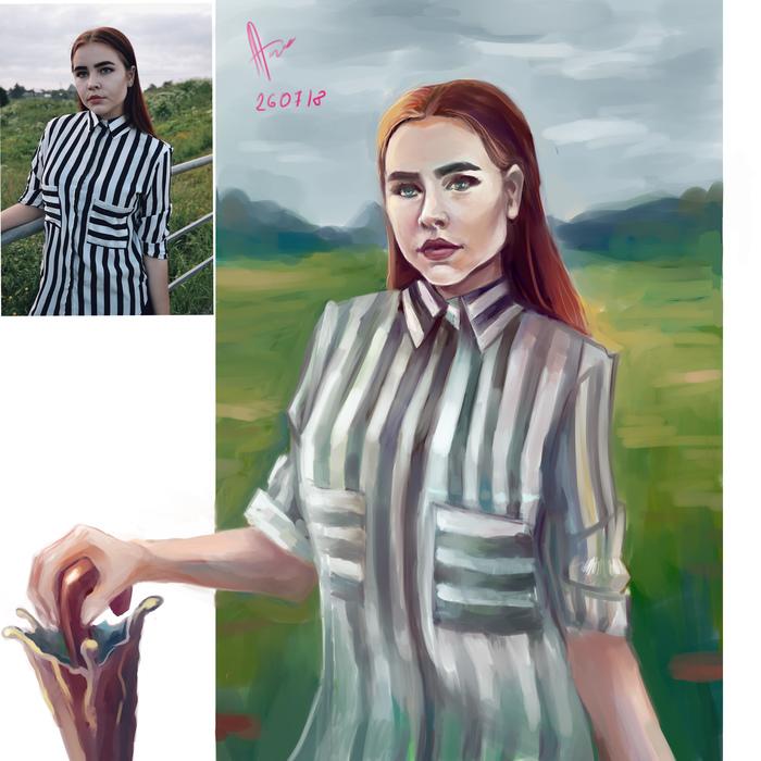 Девушка Портрет, Рисунок, SAI, Цифровой рисунок, Девушки, Зонт