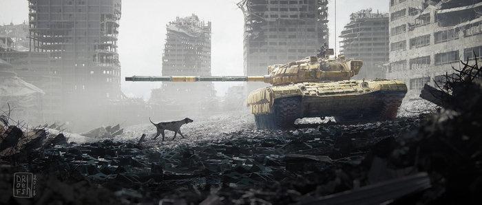 Пёс войны Война, т-72, Руины, Собака