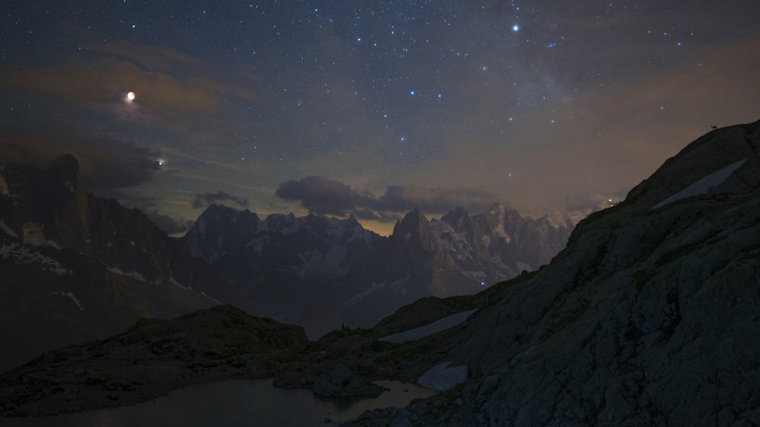 Затмение Луны и Марс над горами. Луна, Марс, Горы, Звездное небо, Лунное затмение, Космос, Фотография, Астрономия
