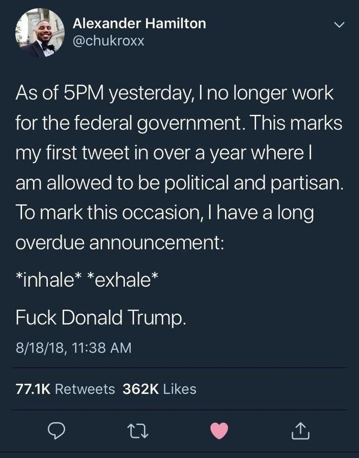"""""""Вчера в 5 часов вечера я уволился с работы в правительстве"""" Twitter, Дональд трамп"""
