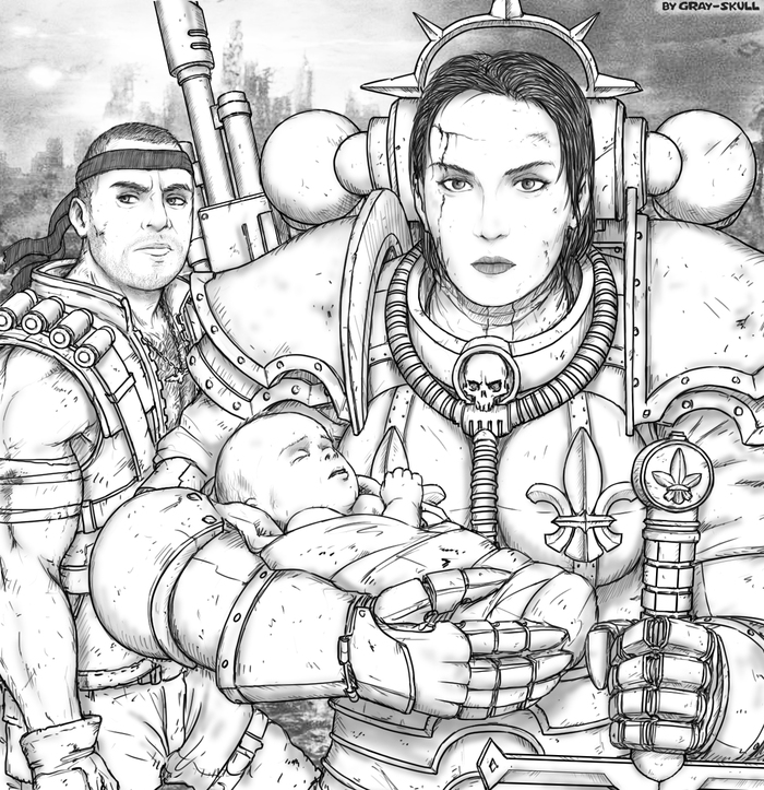 Портрет на заказ #4 (by Gray-Skull) Warhammer 40k, Gray-Skull, Adepta Sororitas, Имперская гвардия, Портрет, Арт, Картинки, Катачан