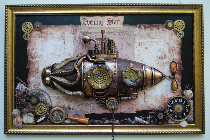"Стимпанк панно - подводная лодка "" Спрут"" Стимпанк, Стимпанк панно, Спрут, Рукоделие без процесса, Подводная лодка, Стимпанк картина, Длиннопост"