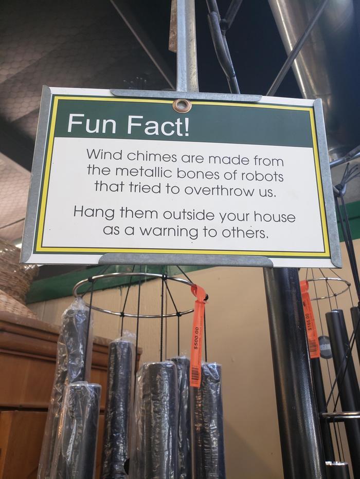 Забавный факт Музыка ветра, Робот, Восстание машин, Предупреждение, Фэншуй, Колокольчики