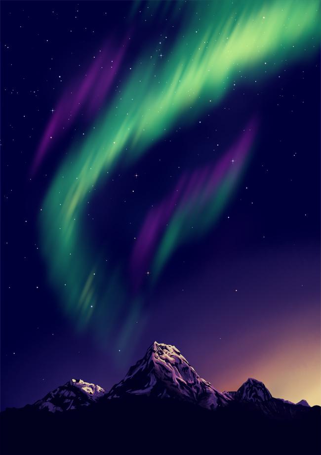 Северное сияние Цифровой рисунок, Северное сияние, SAI, Photoshop, Горы, Закат, Живопись, Звездное небо