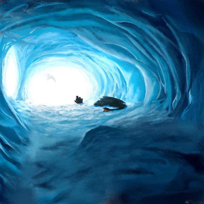 Пещера Арт, Как приручить дракона, Иккинг, Астрид, Беззубик, Дракон, Пещера, Ледяная пещера