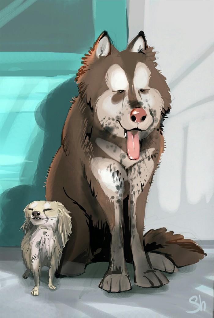 Жалкая пародия и неповторимый оригинал Собака, Рисунок, Сравнение, Арт, Длиннопост, Животные, Анималистика, Цифровой рисунок