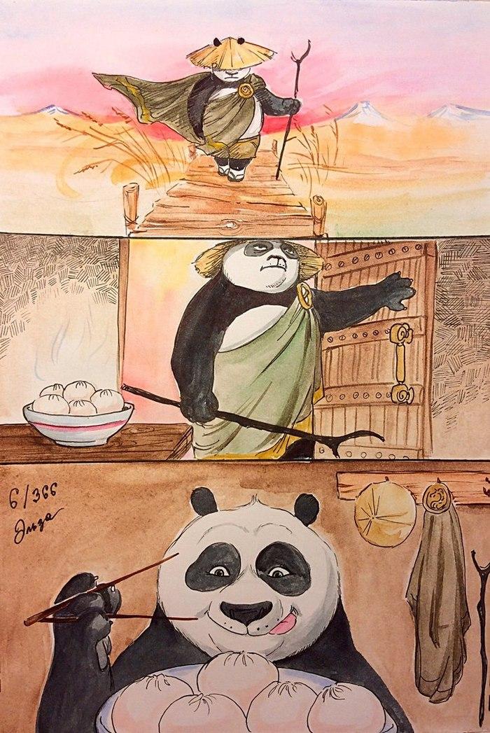 Сила духа в пельмешках) Кунг-Фу Панда, Рисунок, Лига художников, Пельмени, Панда по, Комиксы