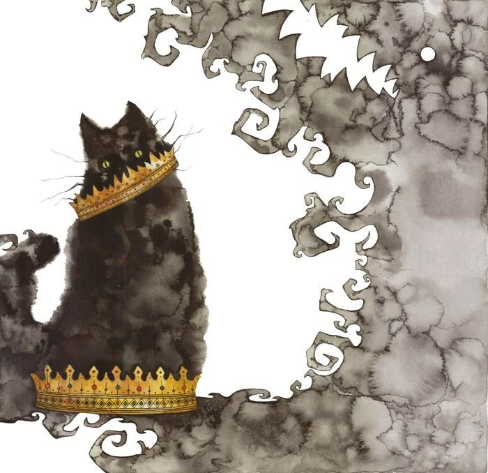 Непростой кот Арт, Акварель, Искусство, Тушь, Кот, Тень, Корона, Рисунок