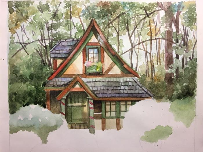 Домик в лесу (Акварель) Рисунок, Акварель, Творчество, Пейзаж, Лес, Okta23, Длиннопост, Домик в лесу, Дом