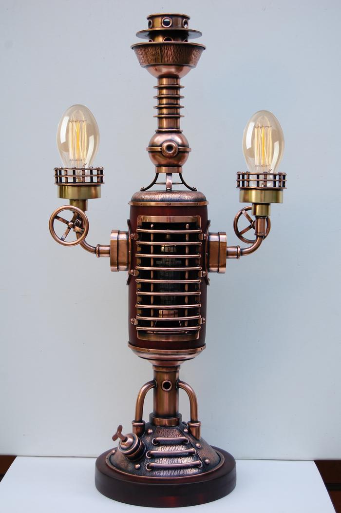 """Настольная лампа в стиле стимпанк """"Генератор света"""" Настольная лампа, Светильник, Стимпанк, Освещение, Купить подарок, Длиннопост"""