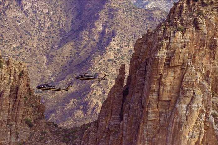 Патруль. США, Вертолет, Патрулирование, Граница, Горы
