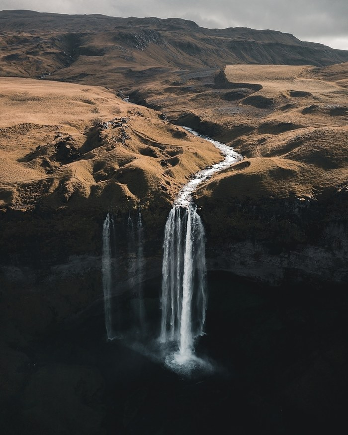 Исландия, водопад Seljalandsfoss Фотография, Путешествия, Исландия, Квадрокоптер, Водопад, Природа, Скандинавия