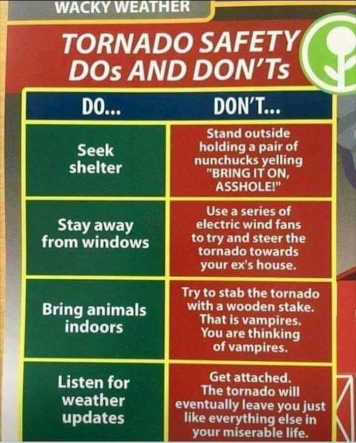 Что стоит и не стоит делать в случае торнадо Торнадо, Совет, Инструкция, Юмор, Безопасность