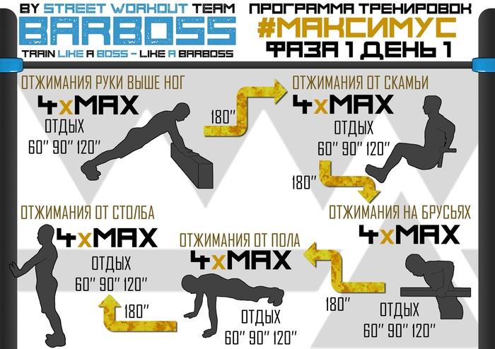 Программа тренировок Без рейтинга, Физкультура, Тренировка, Калистеника, Calisthenics, Упражнения, ОФП, SwtBarBosS, Длиннопост