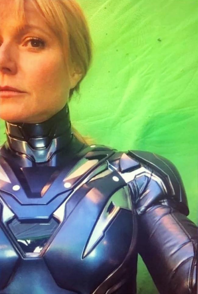 Гвинет Пэлтроу в броне на съёмках четвёртых «Мстителей»