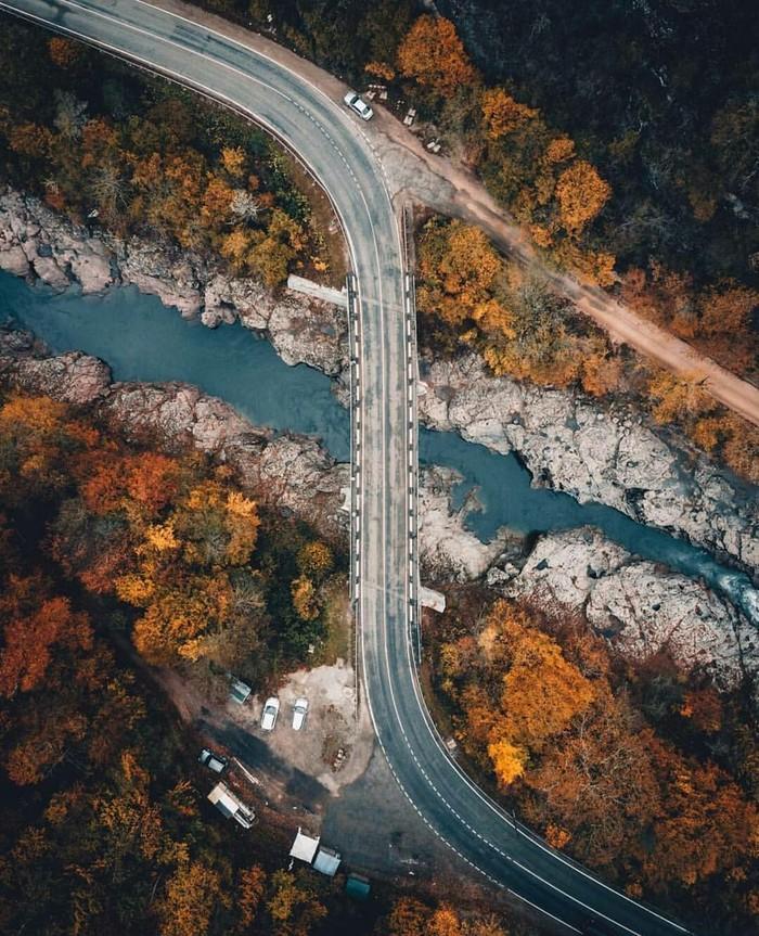 Мост через реку Белая неподалёку от посёлка Хамышки, Адыгея @maxxyz Россия, Фотография, Красота, Адыгея, Кавказ, Природа, Красота природы, Осень, Длиннопост