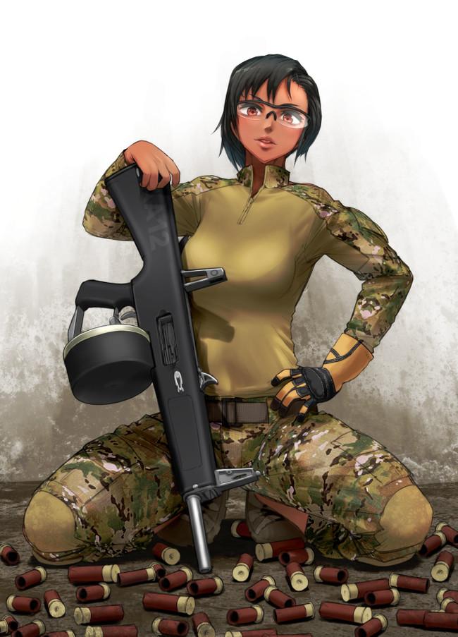 AA 12 brown girl Didloaded, Арт, Крепкая девушка, Аниме, Anime Art, Фитоняшка, Длиннопост