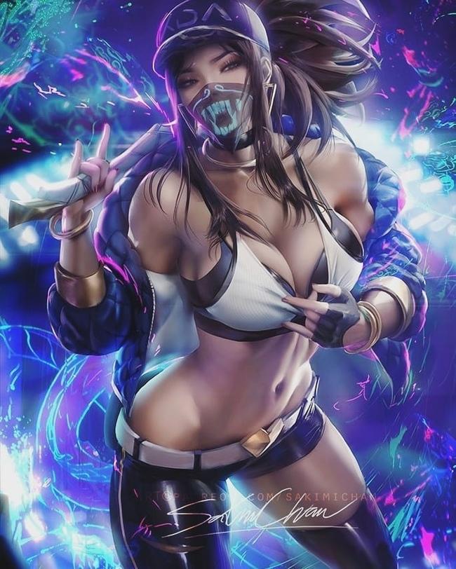 By sakimi chan Sakimichan, Арт, Игры, League of Legends, Рисунок, Неон, Длиннопост, Kda, Akali