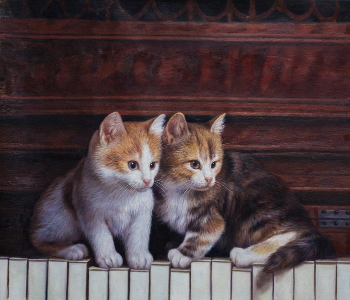 """Картина маслом """"Шли котята по роялю"""" Кот, Котята, Картина, Живопись, Искусство, Современное искусство"""
