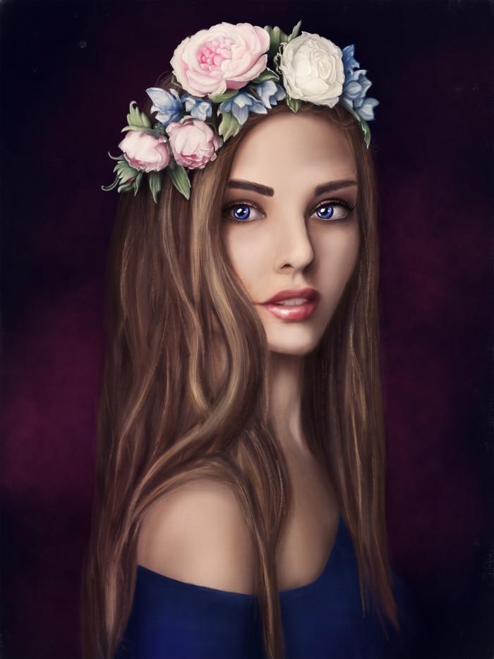 Первая работа на планшете. Девушка с цветами Цифровой рисунок, Procreate, Красивая девушка, Рисунок на планшете, Портрет, Рисунок, Девушки, Венок