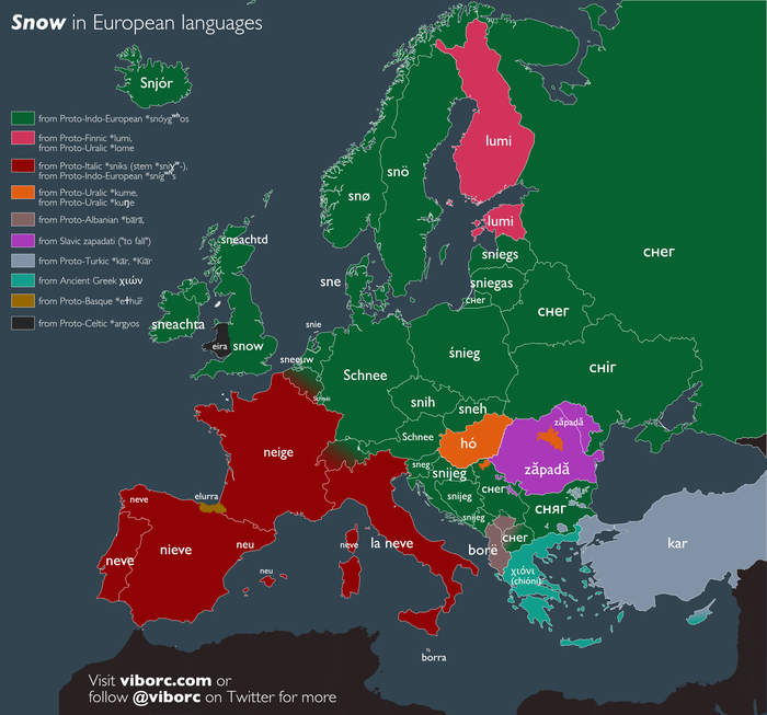 Снег на разных языках Снег, Картинки, Европа, Новый Год, Лингвистика