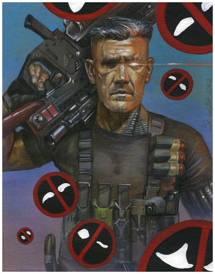 Кейбл (Cable), рисунок Кейбл, Cable, Акрил, Цветные карандаши, Рисунок, Фотореализм, Фильмы, Deadpool 2