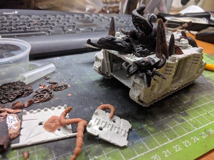 Rhino Зеленая Death Guard, Нургл, Конверсия, Покраска миниатюр, Warhammer 40k, Wh miniatures, Полимерная глина, Зеленка, Длиннопост