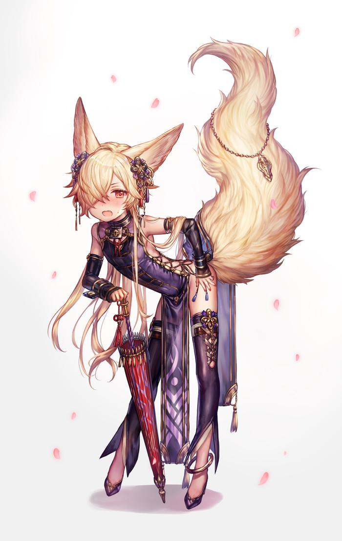 Лисичка Anime Art, Ушастая, Granblue Fantasy, Kou, Лиса, Длиннопост, Its a trap!