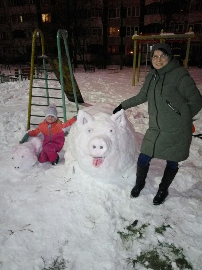 Год свиньи Новый Год, Свинья, Своими руками, Снеговик, Поздравление, Длиннопост