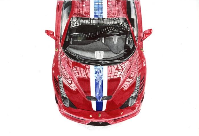 Ferrari 458 Авто, Арт, Рисунок, Рисунок ручкой, Шариковая ручка, Ferrari, Длиннопост, Ferrari 458, Фотореализм