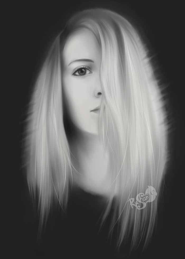 Простенький портрет Цифровой рисунок, Портрет, Красивая девушка, Портрет по фото, Арт, Черно-Белое