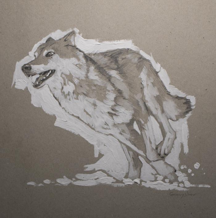 """""""Волк"""" Творчество, Волк, Gnievyshev, Животные, Анималистика, Картина, Акрил, Смешанная техника"""