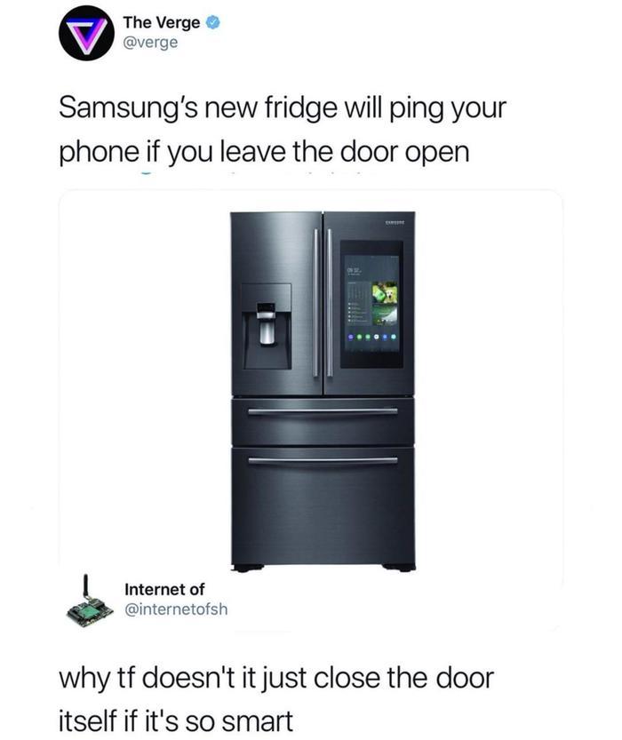 Не очень умный холодильник Samsung, Холодильник, Reddit, Умная техника