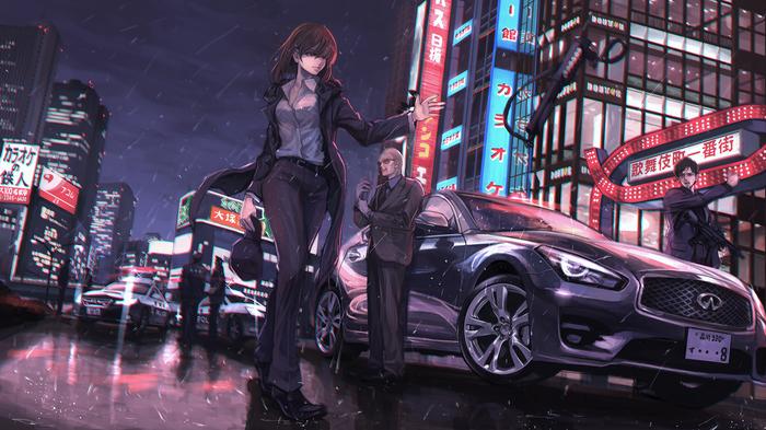 Cars and weapons Anime Art, Аниме, Длиннопост, Алиса в Стране чудес, Ichigo manryou, Авто, Оружие, Школьницы, Школьная форма