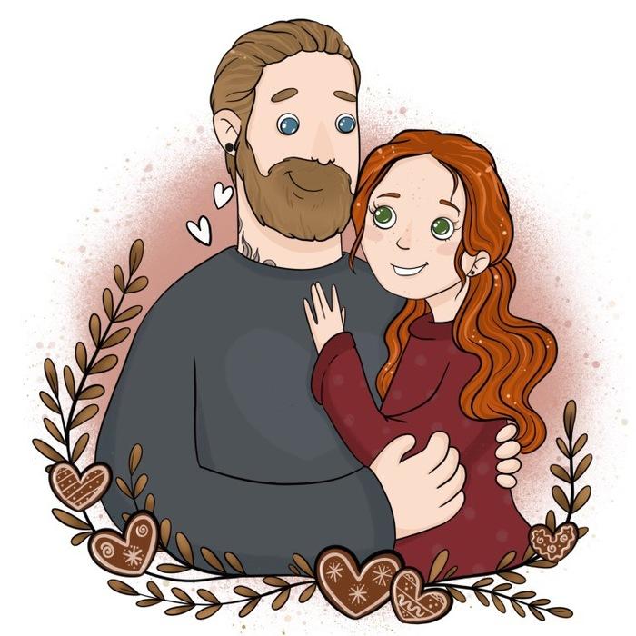 Семейные портретики #2 День святого Валентина, Портрет, Арт, Семья, Цифровой рисунок, Длиннопост, Рисунок