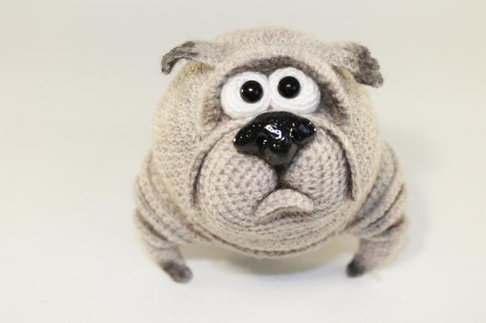 Бульдожик Собака, Своими руками, Вязание, Авторская игрушка, Длиннопост, Рукоделие без процесса, Вязаные игрушки