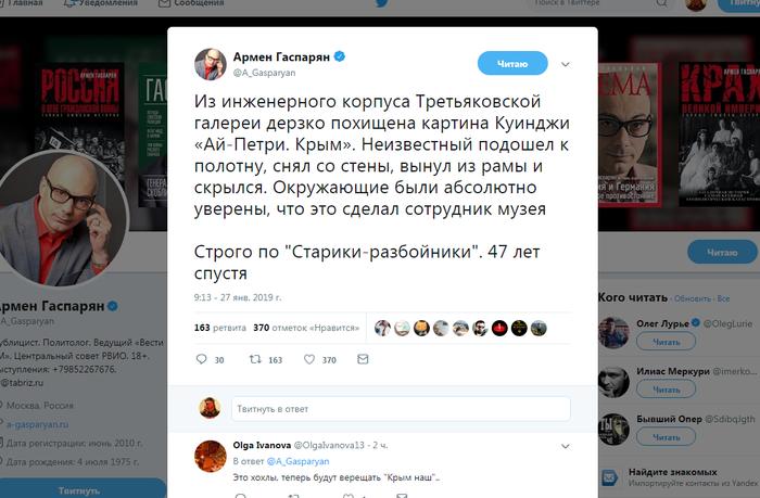 Старики-разбойники Третьяковская галерея, Куинджи, Армен Гаспарян, Twitter