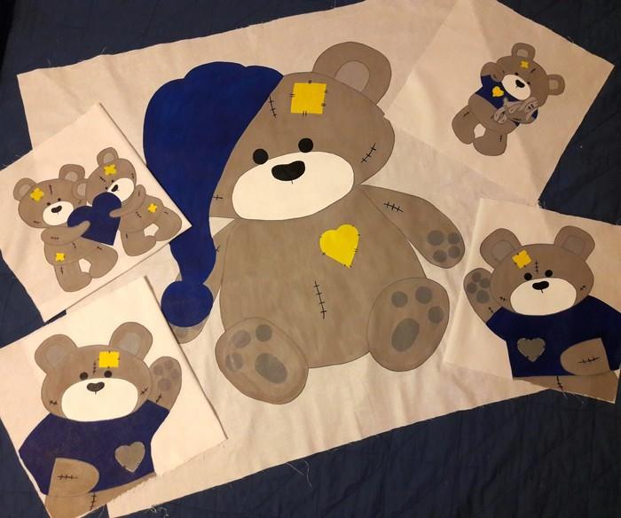 """Рукотворные медведи. """"Как на картинке"""" Рисунок, Творчество, Рукоделие, Длиннопост, Роспись по ткани, Медведь"""