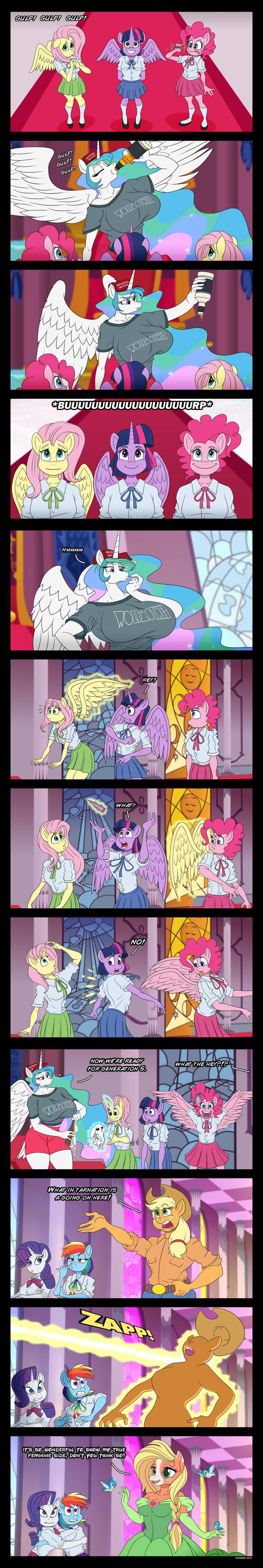 Ну все к пятому поколению готовы. My Little Pony, Mane 6, Princess Celestia, Антро, MLP Edge, Длиннопост