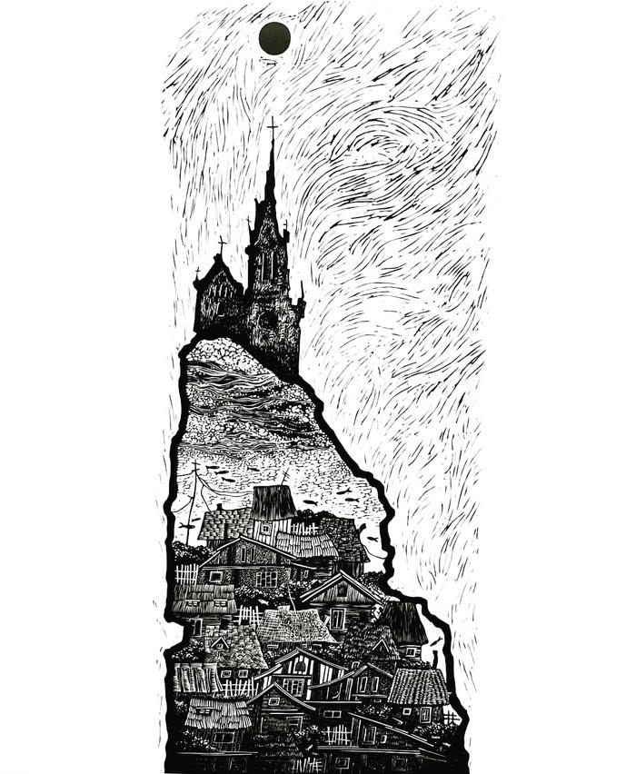 Вторая работа о Вилейке. Арт, Искусство, Линогравюра, Вилейка, Деревня, Длиннопост