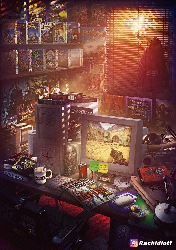 Old school Арт, Видеоигра, Компьютерные игры, Старая школа, 90-е, Лига геймеров, Геймеры, Ностальгия, Длиннопост