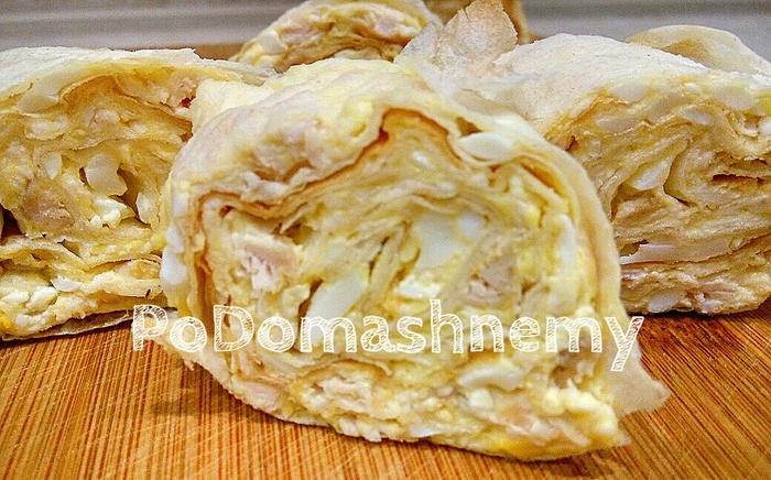 Закуска из лаваша с сыром, яйцами и курицей Видео рецепт, Лаваш, Закуски из лаваша, Рулет, Лаваш рецепты, Видео, Длиннопост, Еда